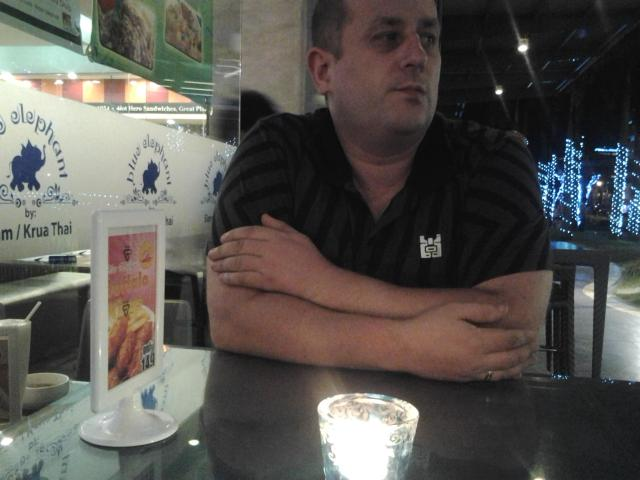 Matt Wilkie waiting for dinner at the IT Park in Cebu